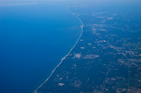 Lake Michigan when flying in to Chigago